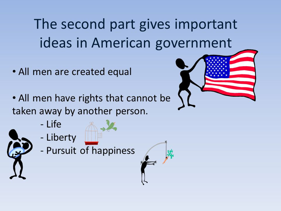 The second part gives important ideas in American government