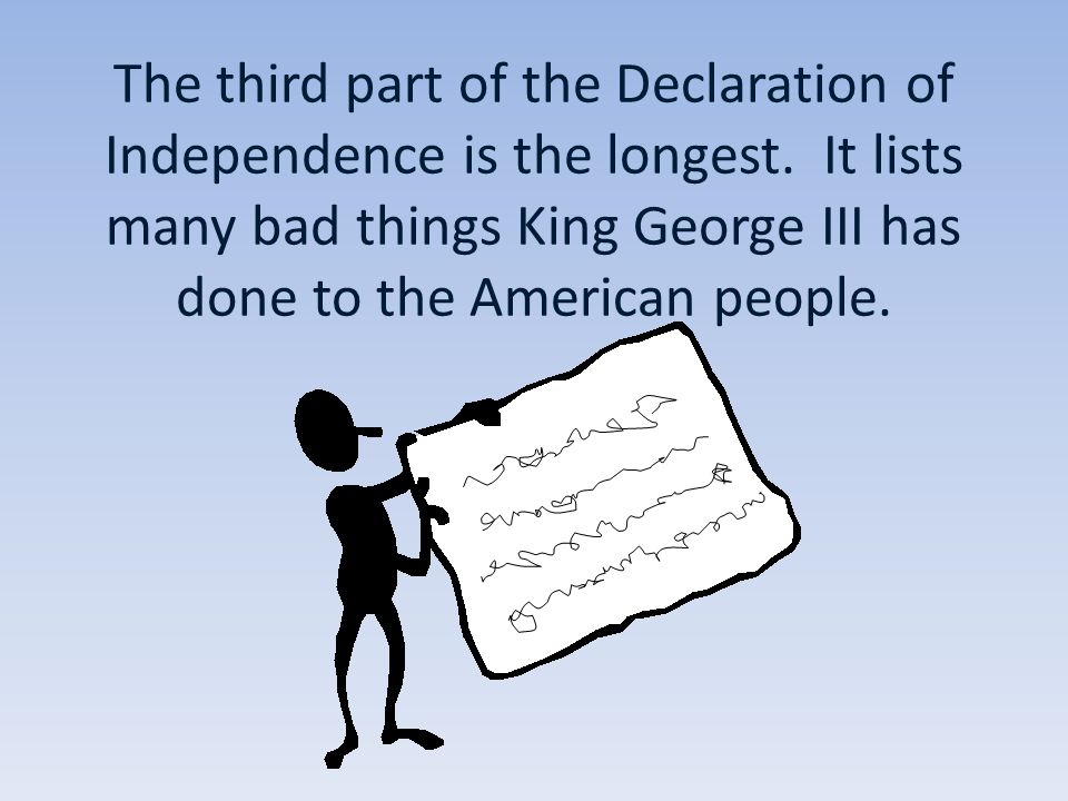 The third part of the Declaration of Independence is the longest