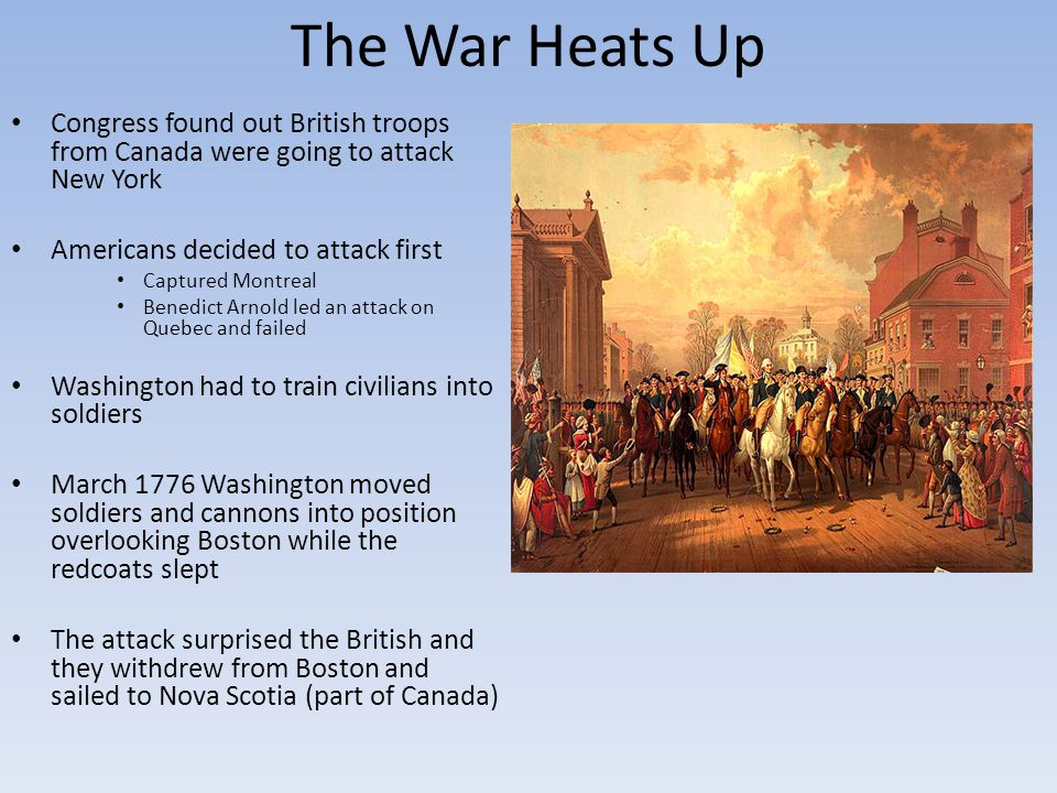 The War Heats Up Congress found out British troops from Canada were going to attack New York. Americans decided to attack first.