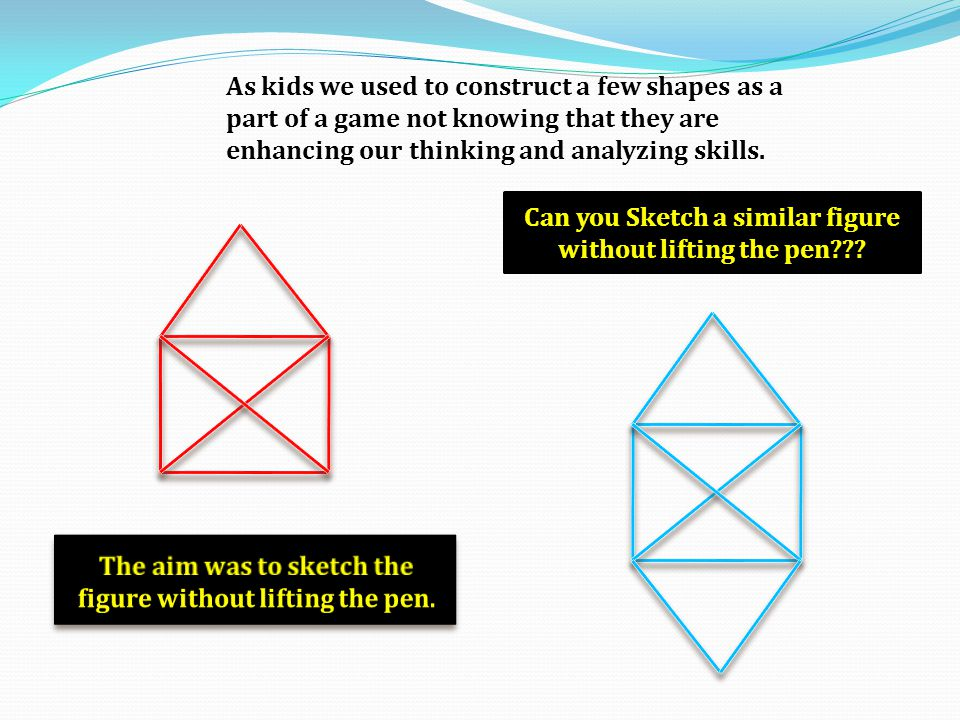 As kids we used to construct a few shapes as a