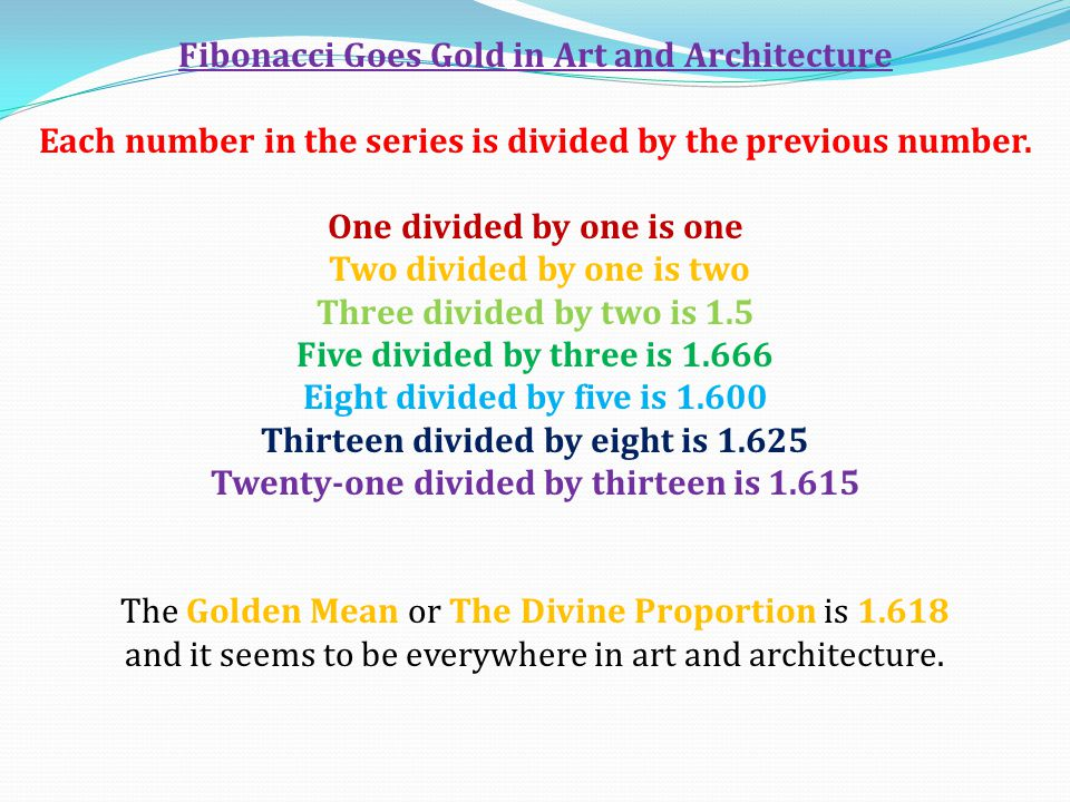 Fibonacci Goes Gold in Art and Architecture
