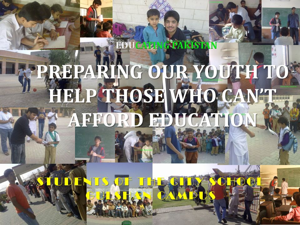 PREPARING OUR YOUTH TO HELP THOSE WHO CAN'T