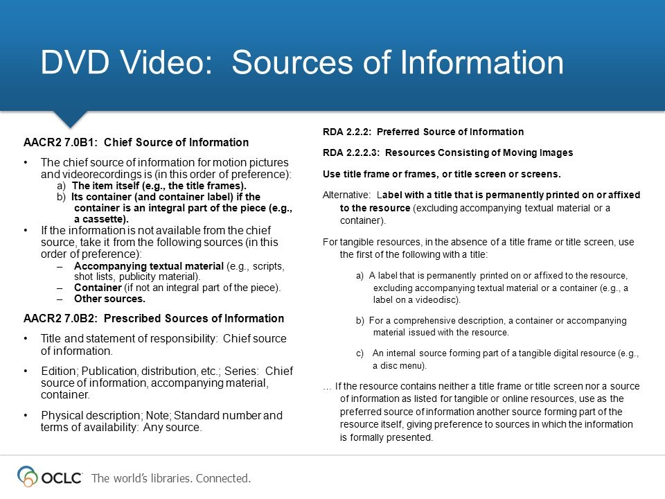 DVD Video: Sources of Information