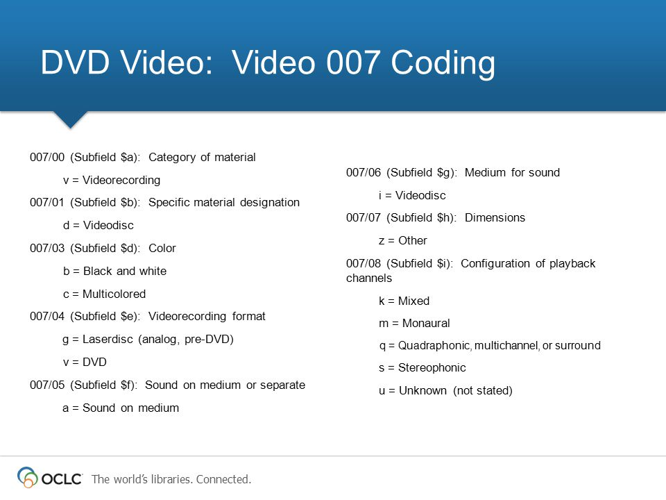 DVD Video: Video 007 Coding