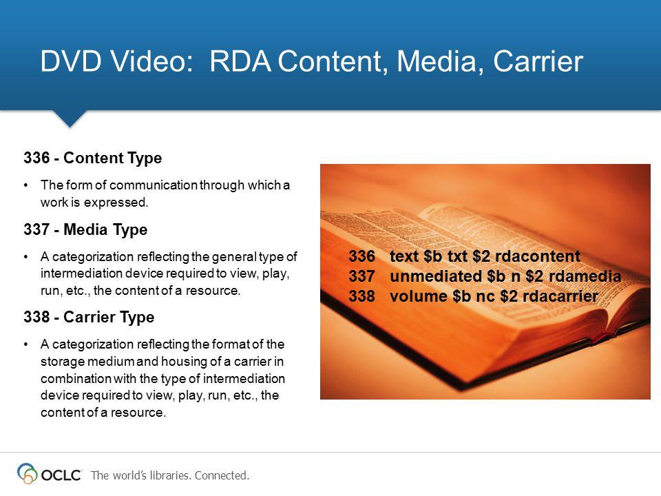 DVD Video: RDA Content, Media, Carrier