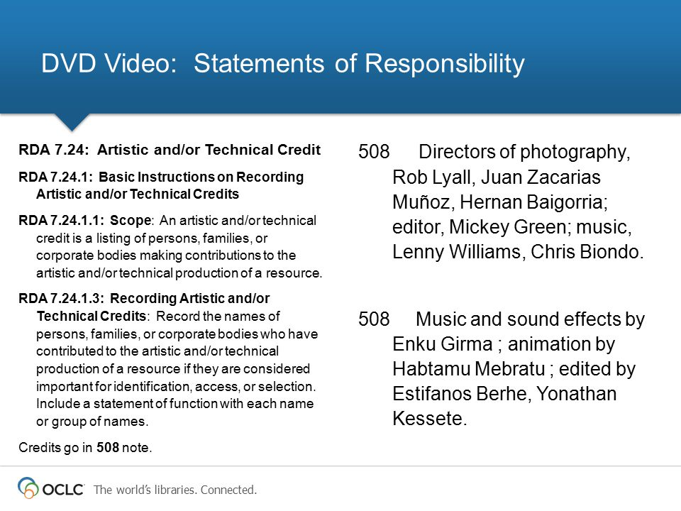 DVD Video: Statements of Responsibility