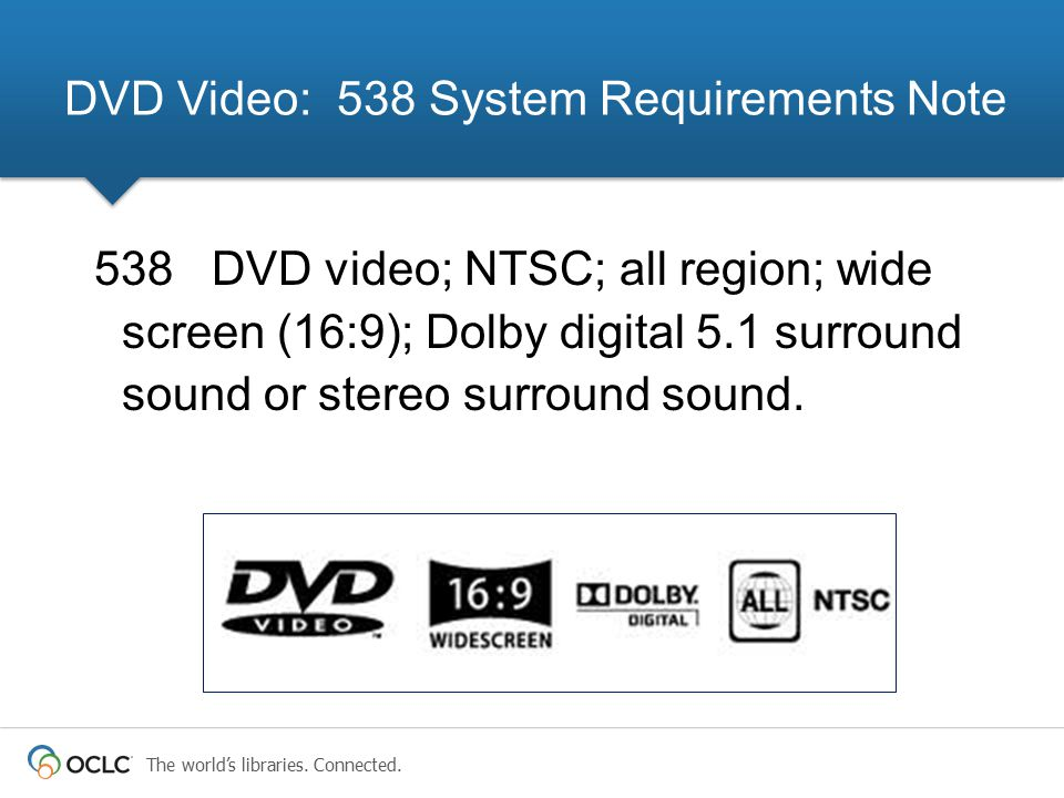 DVD Video: 538 System Requirements Note