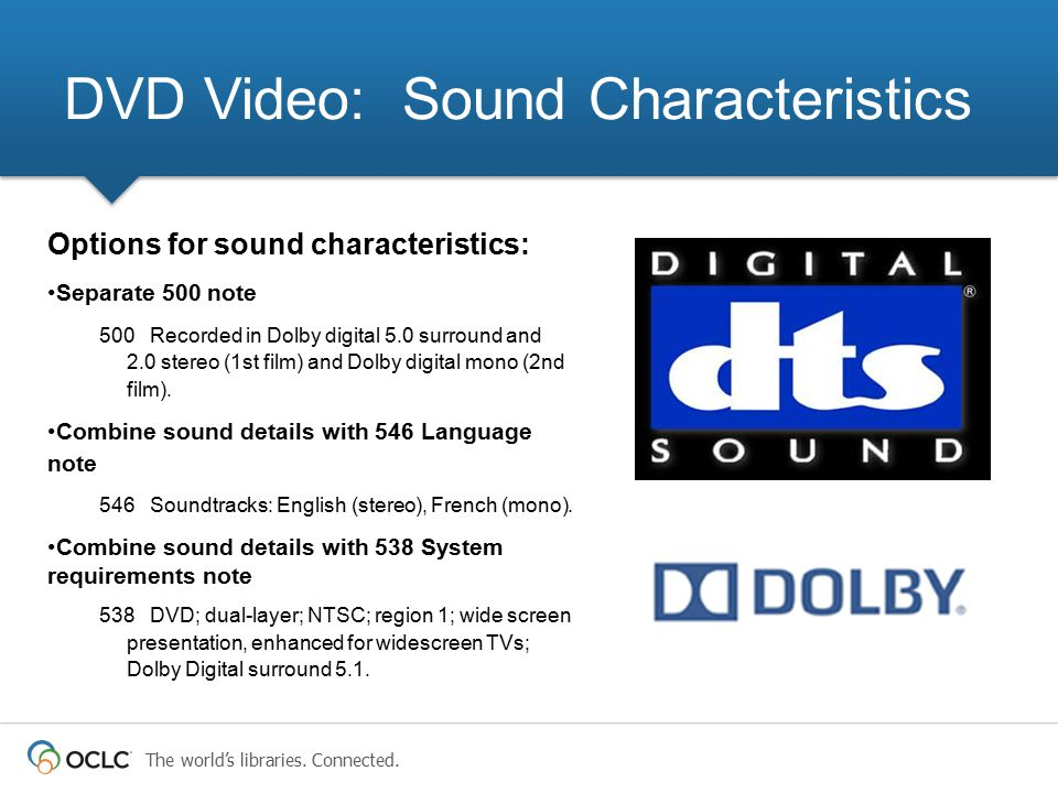 DVD Video: Sound Characteristics
