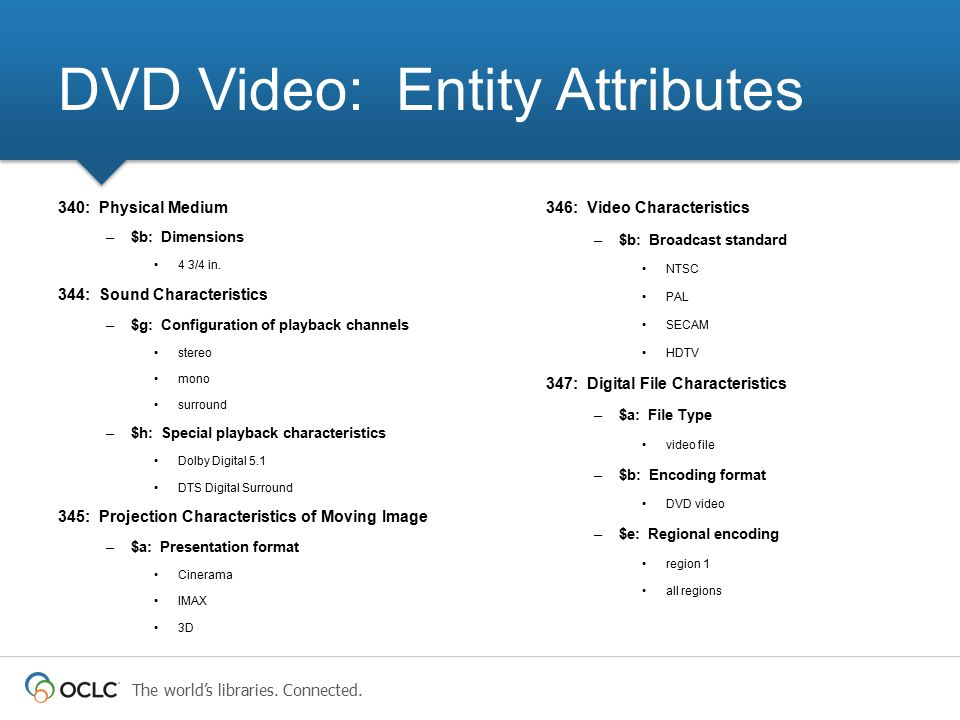 DVD Video: Entity Attributes