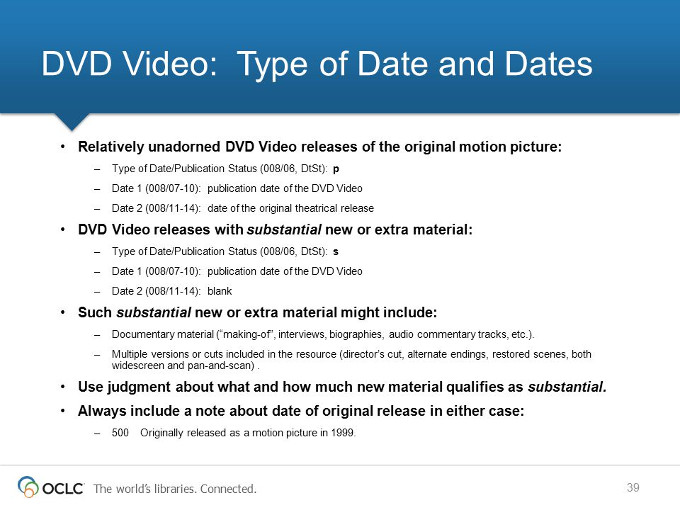 DVD Video: Type of Date and Dates