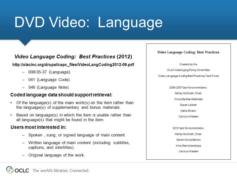 DVD Video: Language Video Language Coding: Best Practices (2012)