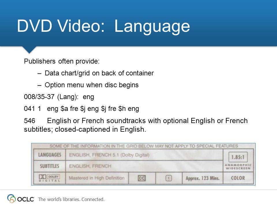 DVD Video: Language Publishers often provide: