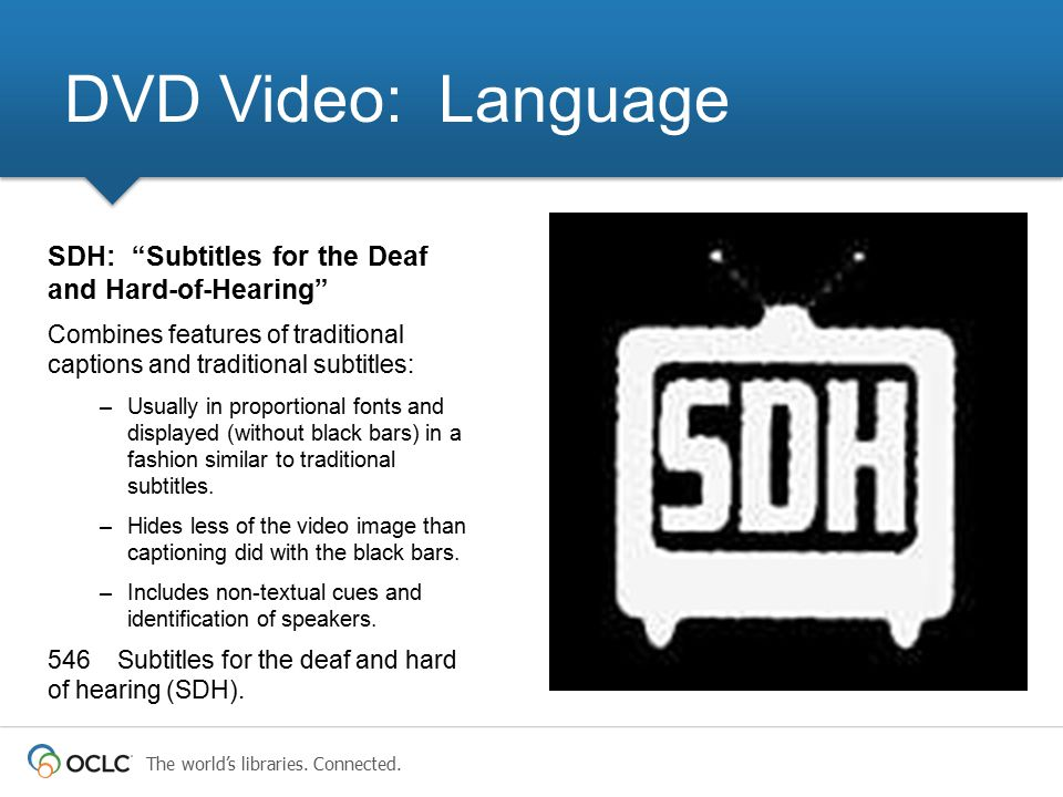 DVD Video: Language SDH: Subtitles for the Deaf and Hard-of-Hearing