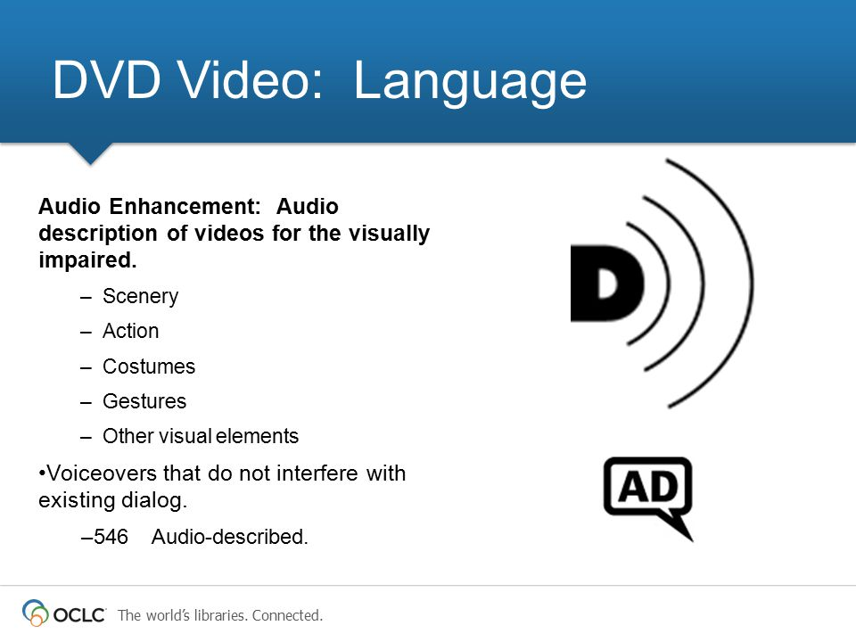 DVD Video: Language Audio Enhancement: Audio description of videos for the visually impaired. Scenery.
