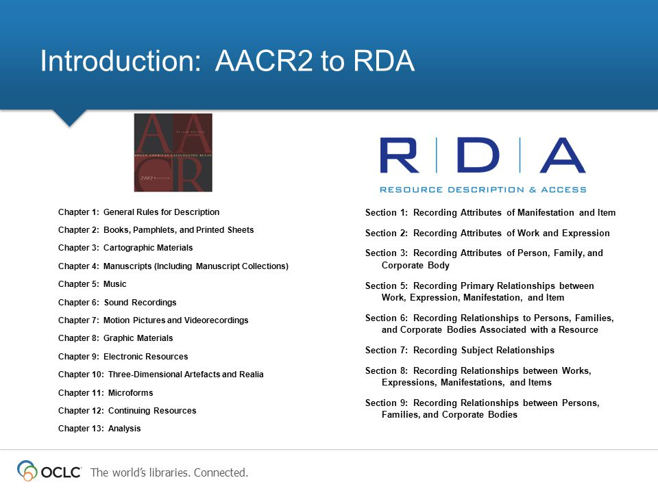 Introduction: AACR2 to RDA