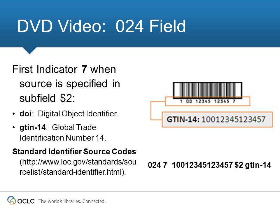 DVD Video: 024 Field First Indicator 7 when source is specified in subfield $2: doi: Digital Object Identifier.