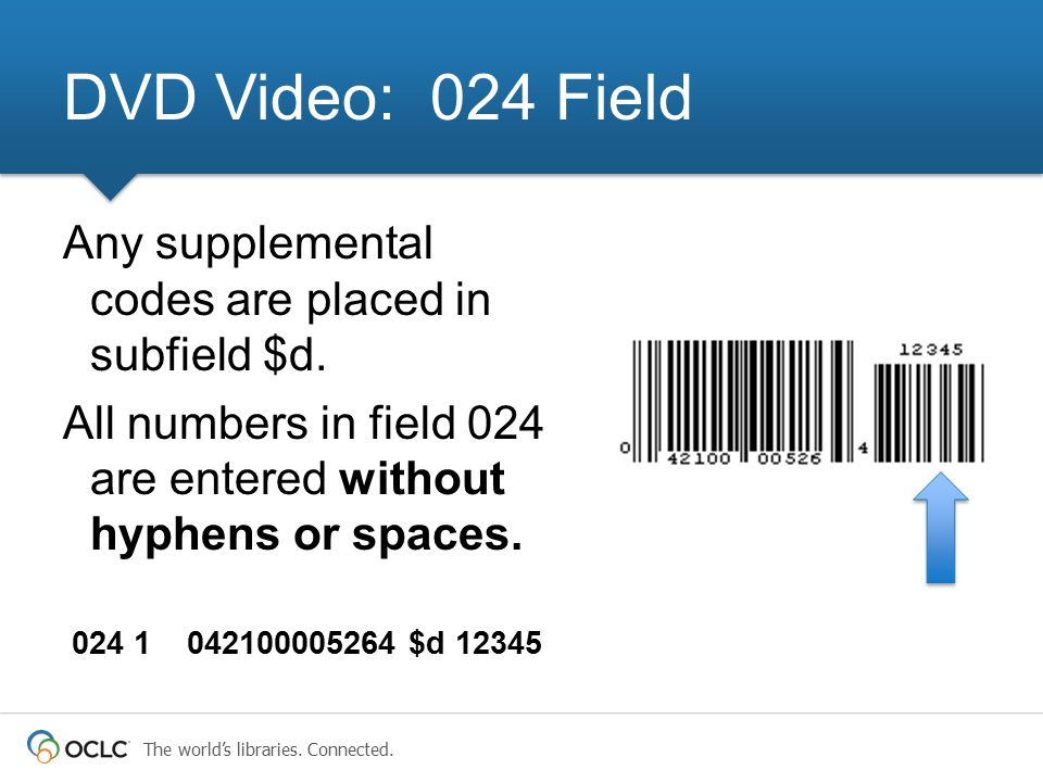DVD Video: 024 Field Any supplemental codes are placed in subfield $d.