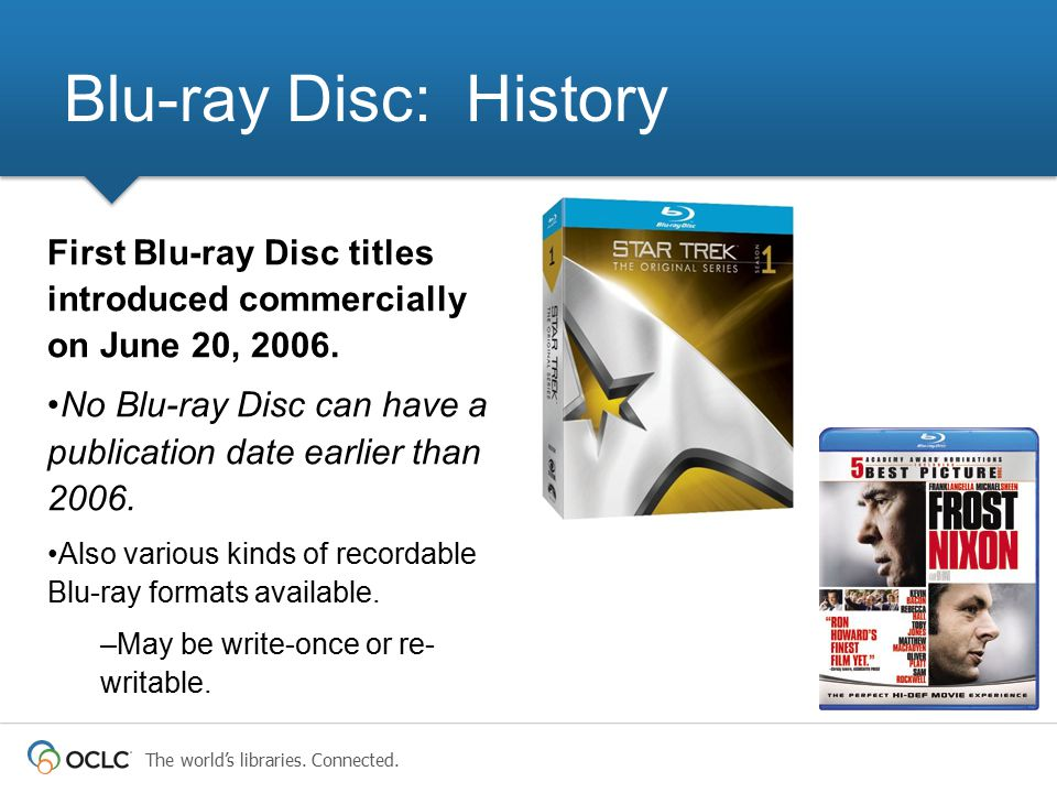Blu-ray Disc: History First Blu-ray Disc titles introduced commercially on June 20, 2006.