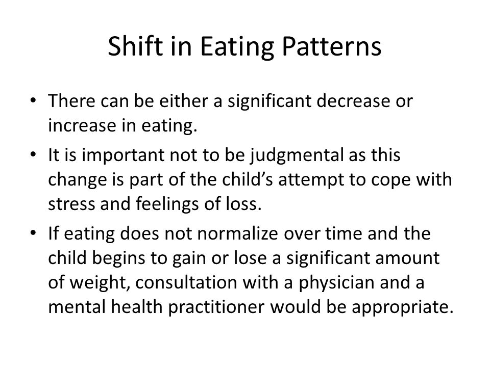 Shift in Eating Patterns