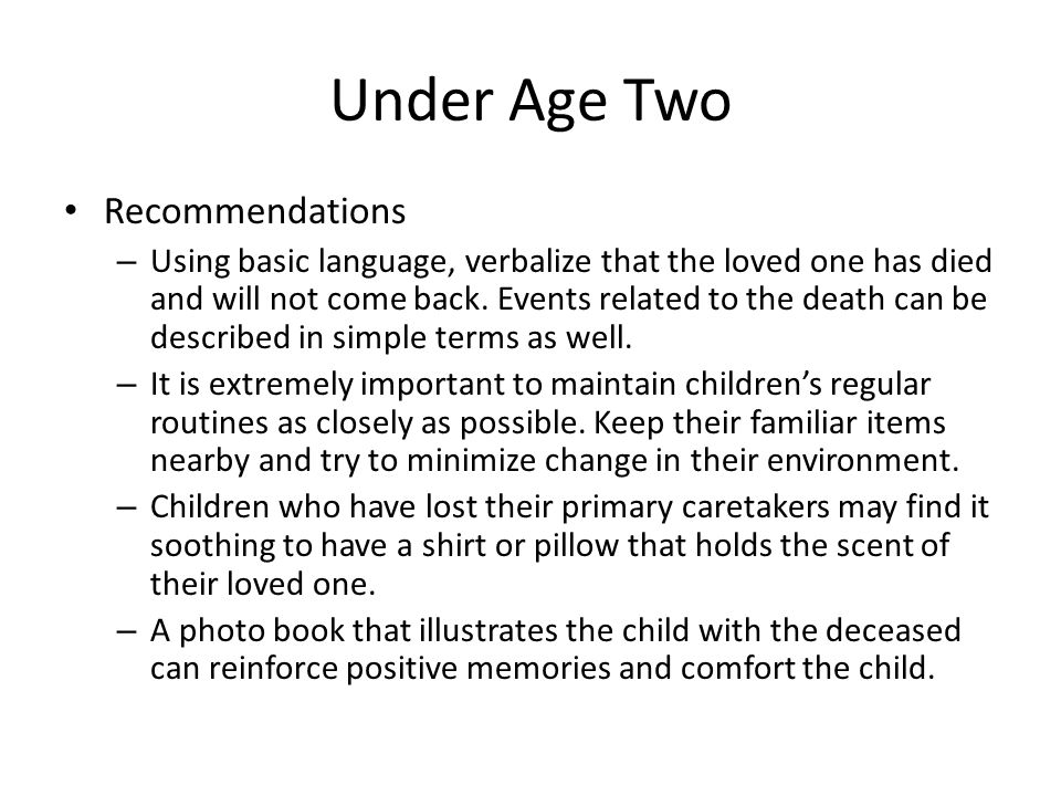 Under Age Two Recommendations