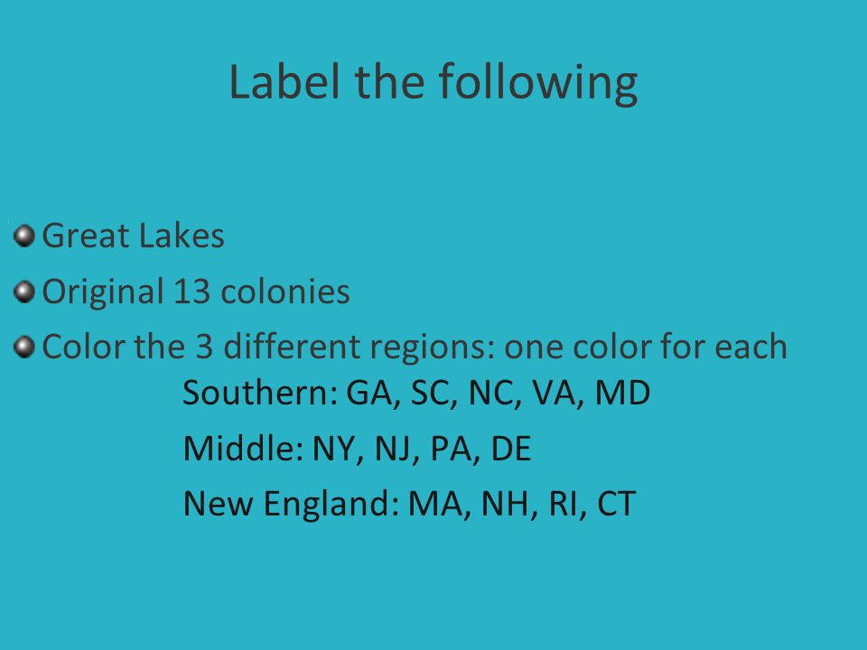 Label the following Great Lakes Original 13 colonies