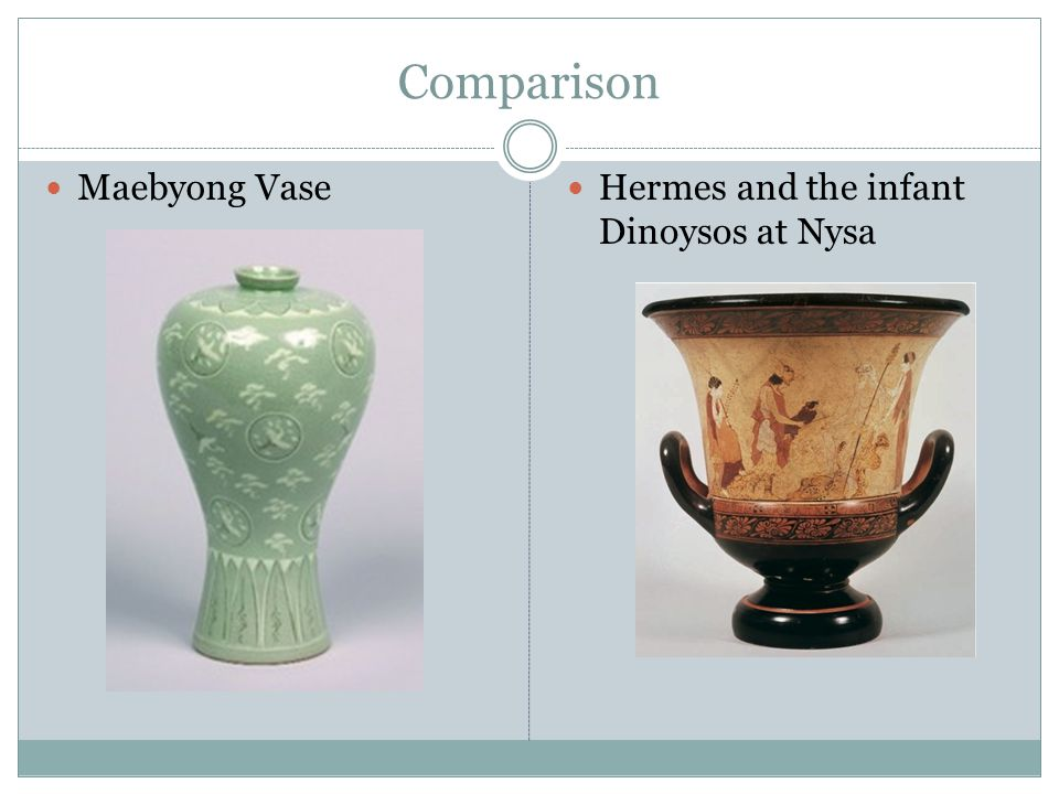 Comparison Maebyong Vase Hermes and the infant Dinoysos at Nysa