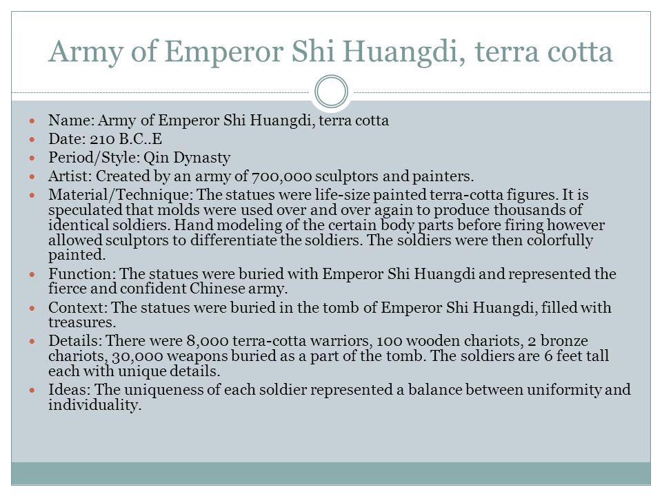Army of Emperor Shi Huangdi, terra cotta