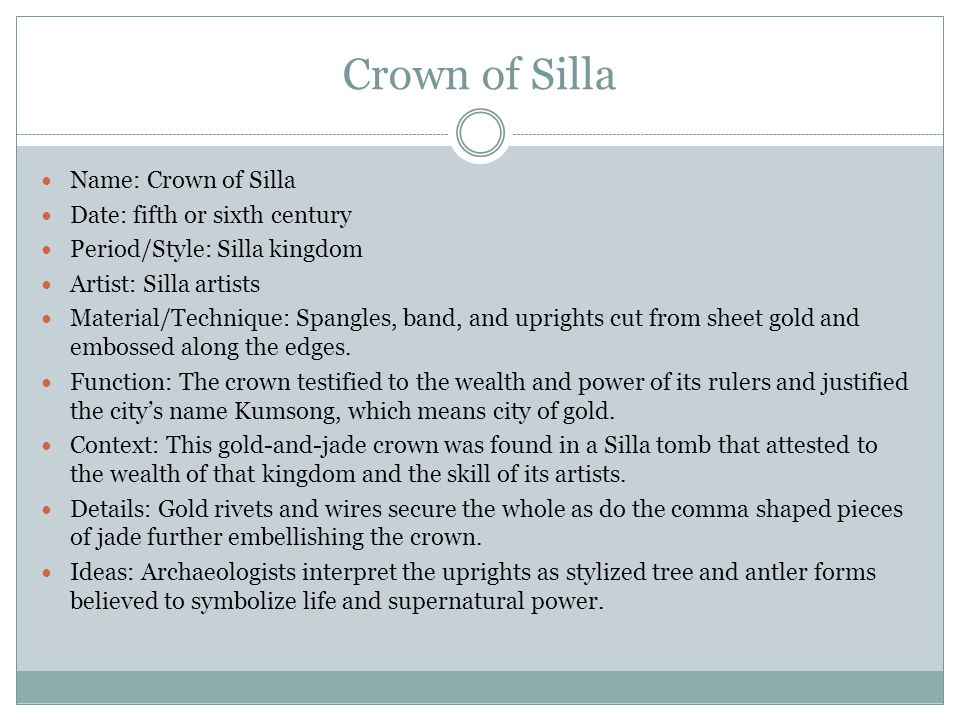 Crown of Silla Name: Crown of Silla Date: fifth or sixth century