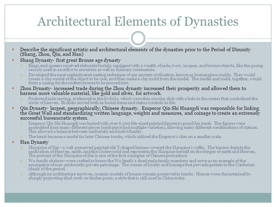 Architectural Elements of Dynasties