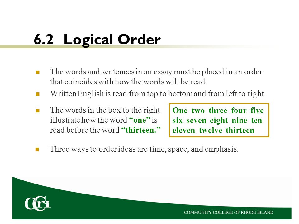 essays dr karen petit this presentation explains how to avoid  6 2 logical order the words and sentences in an essay must be placed in an order