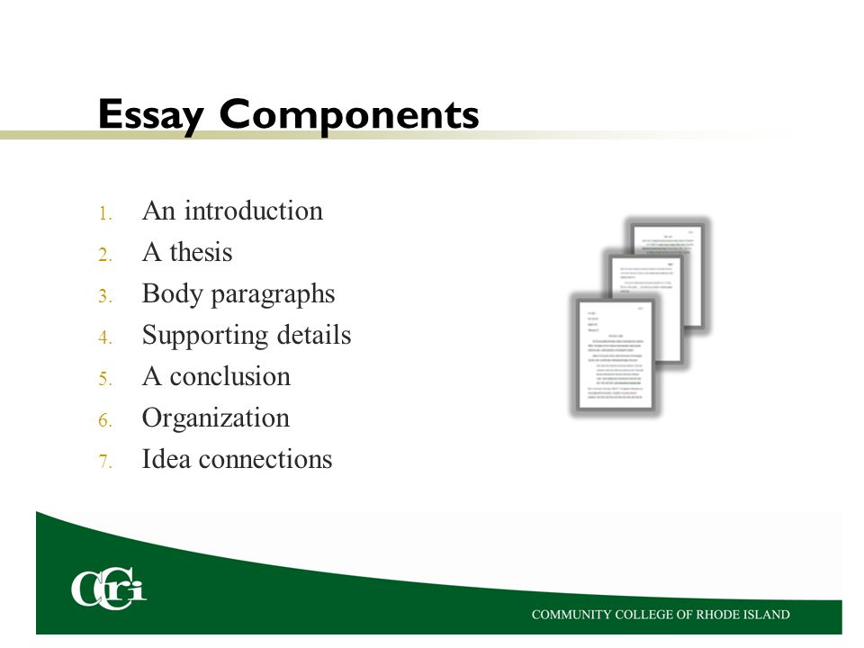 components of introduction of an essay There are three main parts that every persuasive essay needs they are a good introduction, three or more supporting body paragraphs, and a good conclusion introduction a good introduction will make the reader want to read more.
