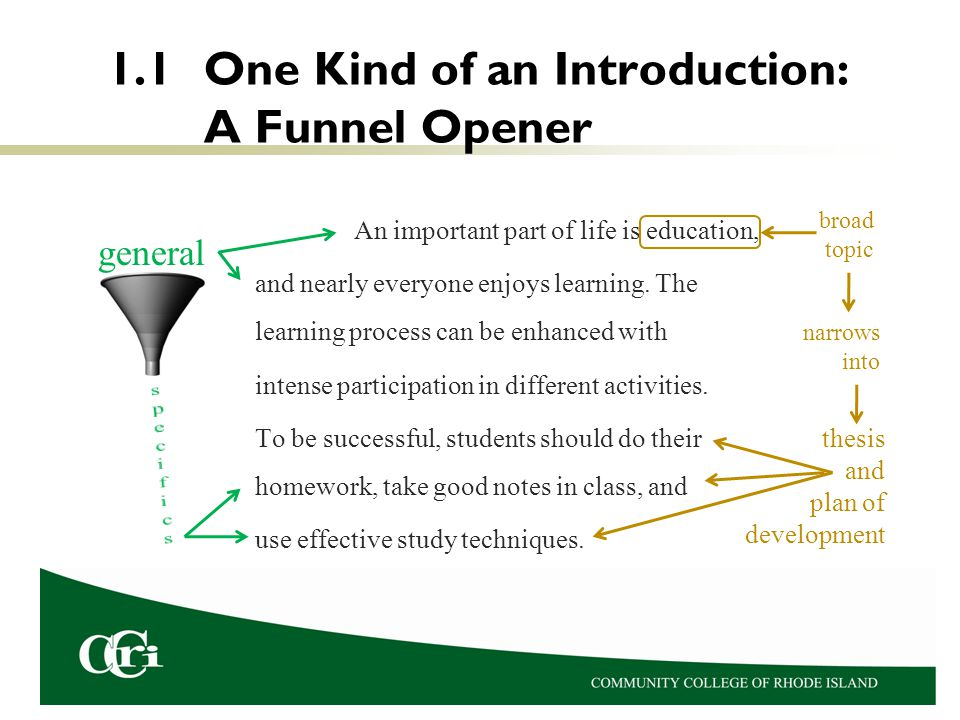funnel technique essay 1 the funnel basic concept: the funnel is a structure for writing that  used, text  title, and a clear stance and/or answer/response to the essay topic ex.