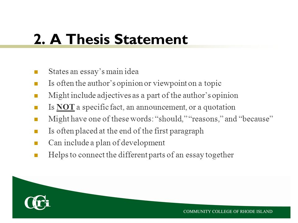 Where is the thesis located in an essay