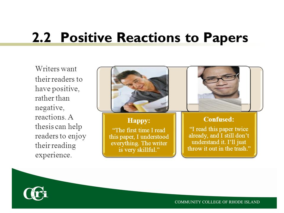 2.2 Positive Reactions to Papers