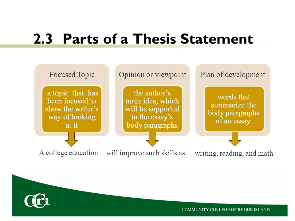 3 part thesis statement In the first stages of writing, thesis or purpose statements are usually rough or ill- formed and are useful primarily as planning tools a thesis statement or purpose .