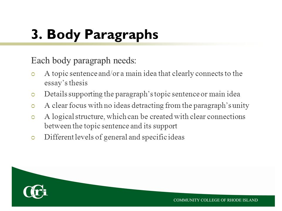 3. Body Paragraphs Each body paragraph needs: