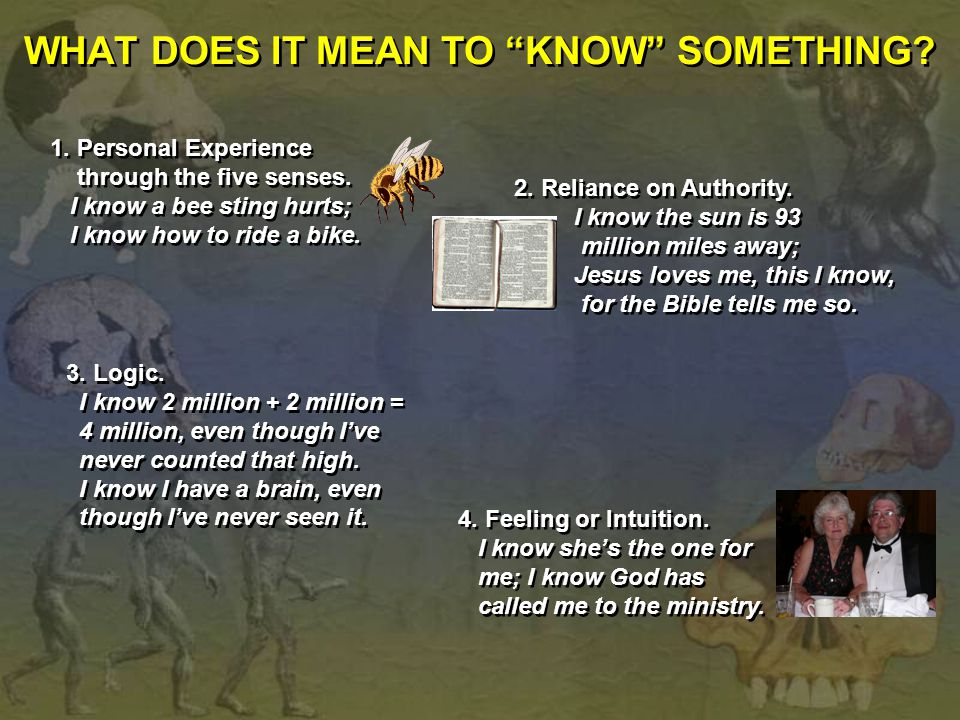 WHAT DOES IT MEAN TO KNOW SOMETHING