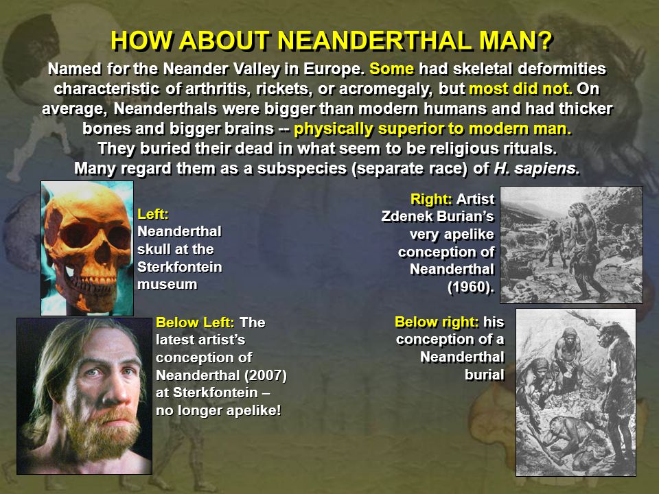 HOW ABOUT NEANDERTHAL MAN