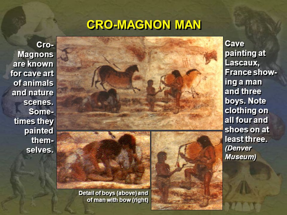 CRO-MAGNON MAN Cro-Magnons are known for cave art of animals and nature scenes. Some-times they painted them-selves.