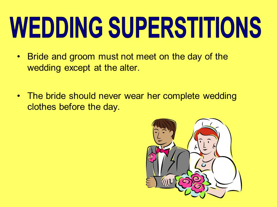 wedding superstitions Nozze, the italian word for wedding, is a fabulous event in italy, there are many old traditions thought to bring good luck and happiness.