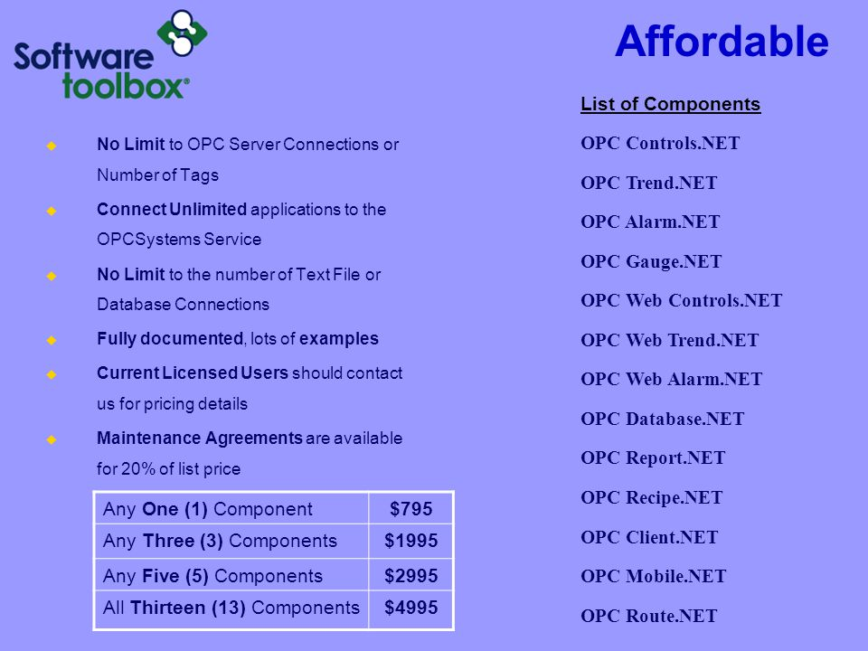 Affordable List of Components OPC Controls.NET OPC Trend.NET
