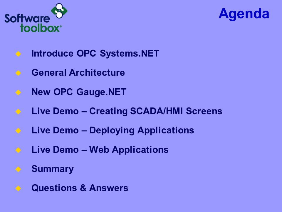 Agenda Introduce OPC Systems.NET General Architecture