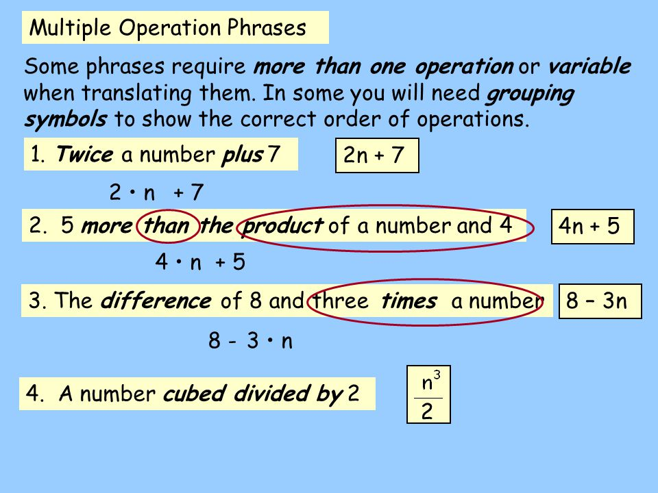 Multiple Operation Phrases