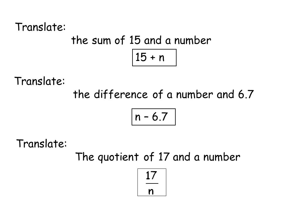 Translate: the sum of 15 and a number. 15 + n. Translate: the difference of a number and 6.7. n – 6.7.