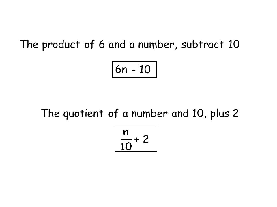 The product of 6 and a number, subtract 10