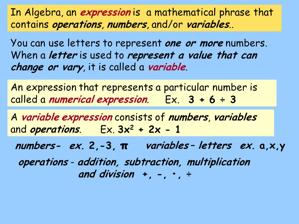In Algebra, an expression is a mathematical phrase that contains operations, numbers, and/or variables..