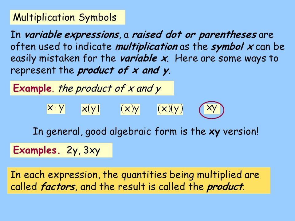 Multiplication Symbols