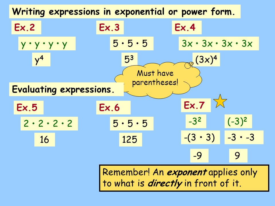 Writing expressions in exponential or power form.