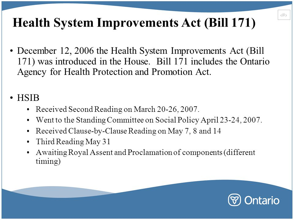 Health System Improvements Act (Bill 171)