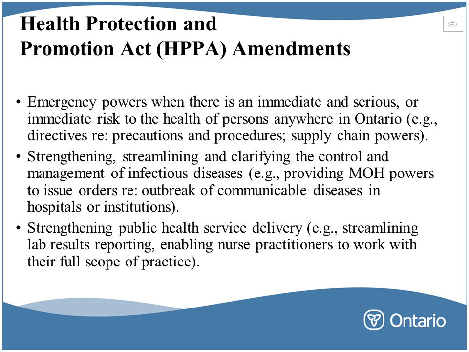 Health Protection and Promotion Act (HPPA) Amendments